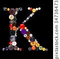 Buttons alphabet  - letter K - 34736473