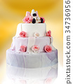 Birthday cake with roses on yellow 34736956
