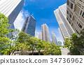 녹색있는 오피스 거리의 풍경 34736962