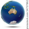World globe - Oceania 3d rendering 34737862