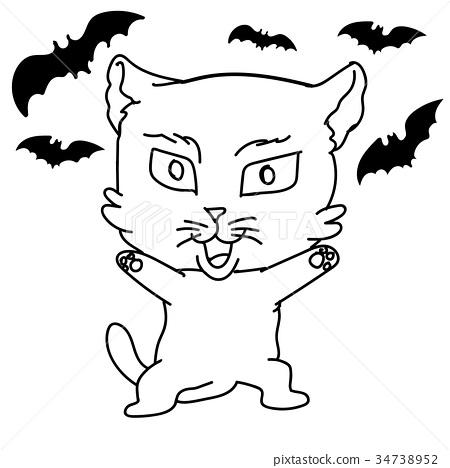 Sg171005 Cartoon Scary Cat Vector Sketch Stock Illustration