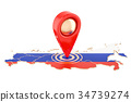 Map pointer on the map of Russia, 3D rendering 34739274