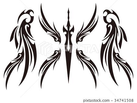 部族单调白色背景翼剑 34741508