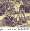 Group of happy teenagers musicians in park 34745875