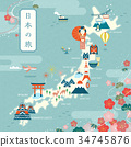 Elegant japan travel map 34745876