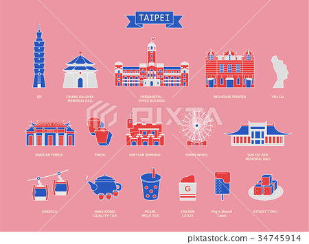 Taiwan travel symbol collection 34745914