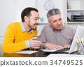 Men look interesting in computer 34749525
