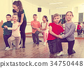 Children studying of partner dance at dance school 34750448