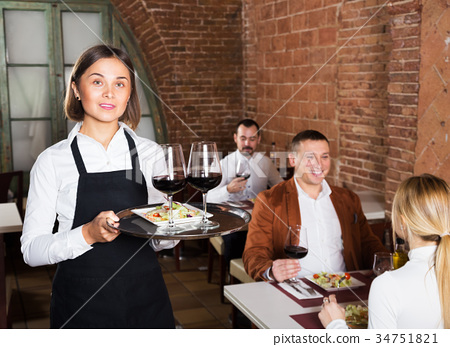 Female waiter in country restaurant 34751821