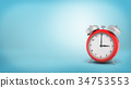 3d rendering of a large old style red alarm clock 34753553