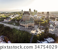 Aerial helicopter view of Chateau Frontenac hotel 34754029