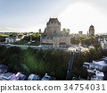 Aerial helicopter view of Chateau Frontenac hotel 34754031