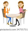 婦女在一家咖啡館聊天 34755731