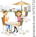婦女在一家咖啡館聊天 34755732