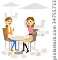 婦女在一家咖啡館聊天 34755733