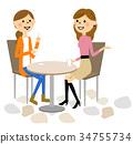 婦女在一家咖啡館聊天 34755734