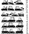 Shape of accident with car in silhouette set. 34756749