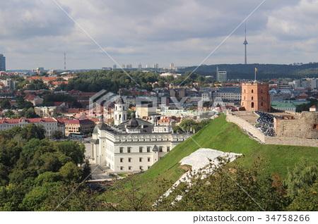 從小山維爾紐斯立陶宛歐洲的頂端大教堂風景 34758266