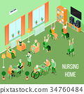 Nursing Home Care Interior Isometric  34760484