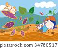 马铃薯田 红薯 孩子 34760517