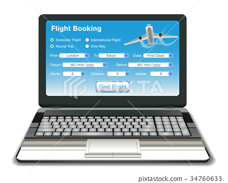 laptop with online flight booking interface  34760633