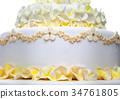 Wedding cake with flowers 34761805