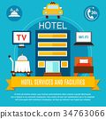 Hotel Services And Facilities Vector Illustration 34763066