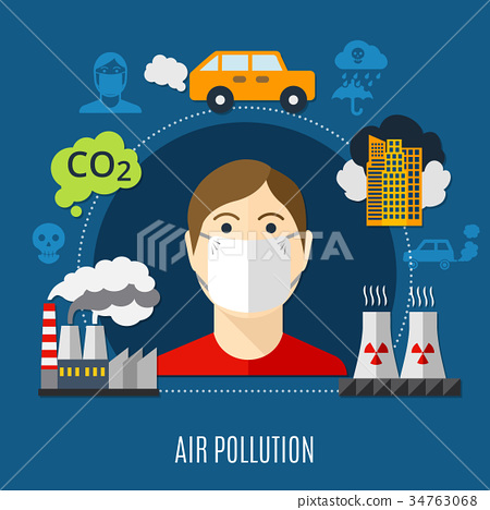 - Illustration Stock Pixta Pollution 34763068 Air Concept