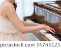 여성, 여자, 피아노 34763121