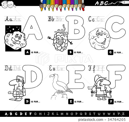 educational cartoon alphabet letters coloring book - Stock ...