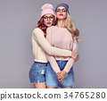 Fashion. Young Hipster Woman. Sisters Best Friends 34765280