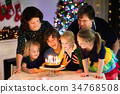 Family celebrating birthday and Christmas. 34768508