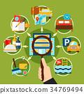 Hotel Decorative Round Icons Set 34769494