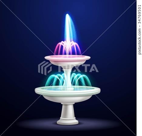 Night Fountain Neon Lights Realistic  34769501