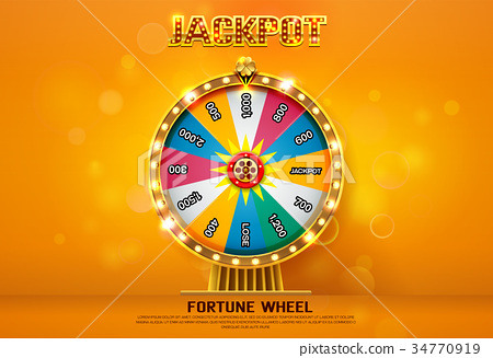 fortune wheel spinning  on bokeh background 34770919