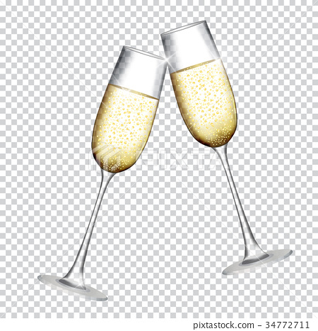 Two Glass of Champagne Isolated on Transparent 34772711