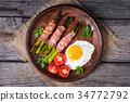 asparagus, egg, bacon 34772792