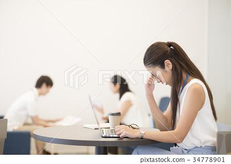 辦公室休閑職業女性勞累過度疲勞 34778901