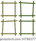 Set empty frames of bamboo stalks, vector  34780277