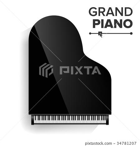 Grand Piano Vector. Realistic Black Grand Piano  34781207