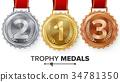 Winner Gold, Silver, Bronze Medals Set Vector. 34781350