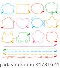 색연필 낙서 바람 텍스트 필드 34781624