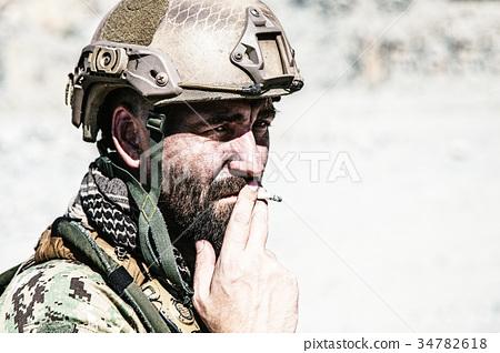 Army soldier smoking 34782618