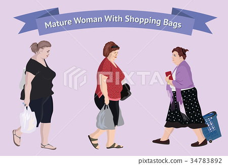 Older woman with shopping bags 34783892