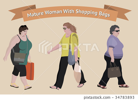 Older woman with shopping bags 34783893