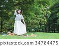 피크닉 여성 레저 공원 점심 34784475