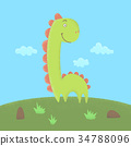 Dinosaur flat illustration 34788096