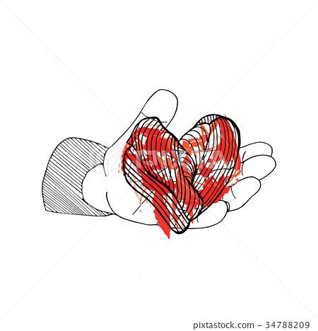 Bleeding heart in hand. Halloween hand drawn card 34788209