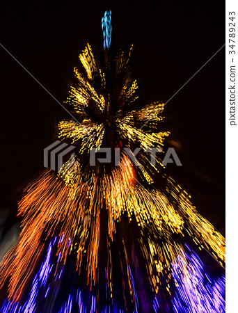 Abstract Christmas lights background at night 34789243