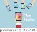 merry christmas on mobile smartphone 34792393